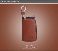 Genuine Leather Car Key Holder For Men Business Key Wallet Housekeeper Keys Male Zipper Door Key brown a