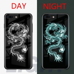 Luminous Fashion  Tempered Glass Hybrid Case Cover  for iPhone X/XS/6 6S/ 6 6S plus/7 8/7 8  plus Dragon iPhone 6 6S