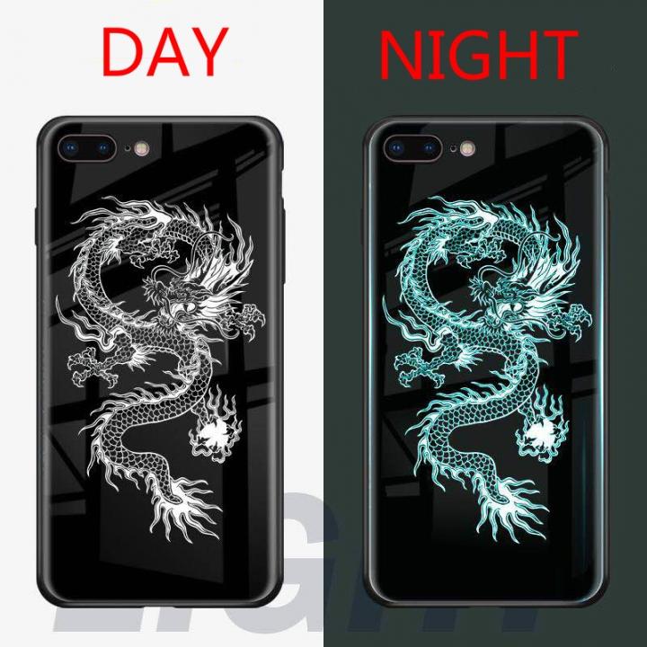 online retailer c5bcf 40099 Luminous Fashion Tempered Glass Hybrid Case Cover for iPhone X/XS/6 6S/ 6  6S plus/7 8/7 8 plus Dragon iPhone 6 6S Plus
