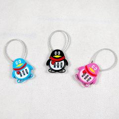 Cute QQ Alloy Luggage Locks combination code lock 3 digital password Cartoon wire rope padlock Black 3.8*4.0*9cm