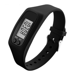Digital LCD Pedometer Run Step Calorie Counter Watch Bracelet Silicone Wristband for Children Women black one size