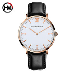 Hannah Martin Fashion Business Men Women Sports Casual Watches Waterproof Quartz Leather Strap Watch JT-B-FH one size