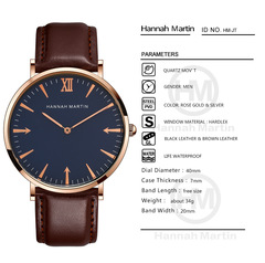 Hannah Martin Fashion Business Men Women Sports Casual Watches Waterproof Quartz Leather Strap Watch JT-L-YK one size