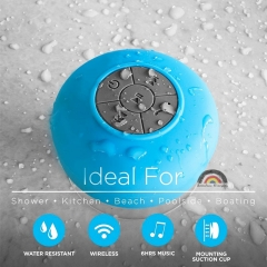Mini Fashion HIFI Waterproof Wireless Bluetooth Handsfree Mic Suction Speaker Shower Car Musical blue one size