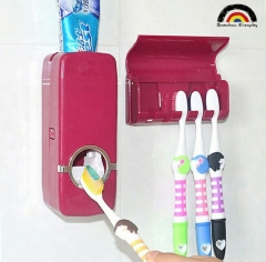 BE Brand Home Hotpoint Auto Automatic Toothpaste Dispenser +5 Toothbrush Holder Set Wall Mount Stand Rose One Size