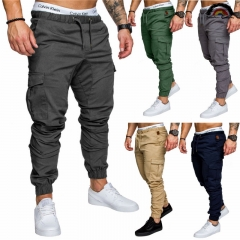 6 Cols Men Pant Hip Hop Harem Joggers Pants Male Trousers Joggers Solid Multi-pocket Pant Sweatpants dark gray m