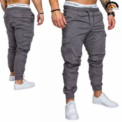 6 Cols Men Pant Hip Hop Harem Joggers Pants Male Trousers Joggers Solid Multi-pocket Pant Sweatpants french gray xl