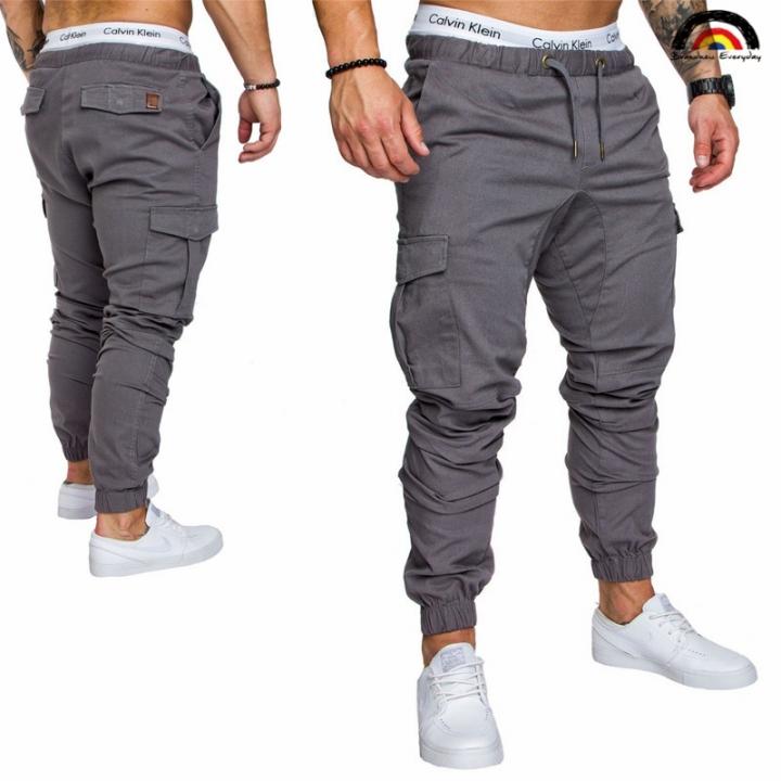 6 Cols Men Pant Hip Hop Harem Joggers Pants Male Trousers Joggers Solid Multi-pocket Pant Sweatpants french gray xl