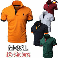 BE Brand 10 Colors Men Men's Personality Cultivating Short-Sleeved Shirt POLO Fashion Tshirts Cotton orange l cotton polyster spandex