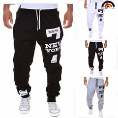 BE Brand 5 Colours 2018 NEW YORK Printed Men's Casual Pant Spring Fashion Men's Sports Trousers black-white m