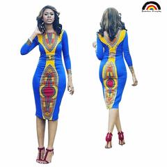 BE Brand New Fashion Women Women's Long Sleeve African Print Dress Kaftan Party Dress s as picture