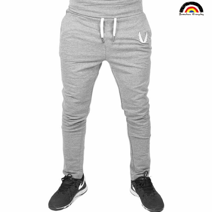 BE Brand 4 Colors 2018 New Man Sports Joggers Men's Pant Fashion Trousers Sweatpants Casual Pant French gray 2XL