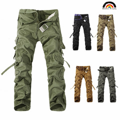 BE Brand Men's New Fashion Pocket Design Military Style 100% Cotton Overalls Trousers  Long Pants amy green 28