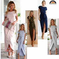 BE Brand New Women's 6 Cols Short-sleeved Round-collar Irregular Attractive Dress Summer Party Dress s pink