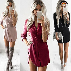 BE Brand New Women's Casual Chiffon Blouse Loose T-Shirts Tops Lady Leisure Long Sleeve Shirt Dress red s