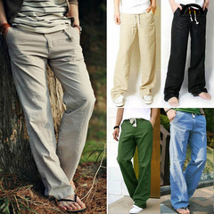 BE Brand Men's Japanese Style Light Loose Breathable Flax Trousers Cotton Linen Pants Casual Clothes gray m