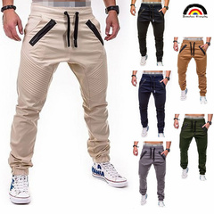BE Brand Men's European and American Style Leisure Sports Striped Zipper Trousers beige m