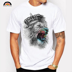 2019 Summer Men's Cotton T-shirt Personality Graffiti Lion Pattern Short Sleeved Round Neck Shirts white S 100%cotton