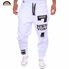 BE Brand Thin Men Print Sweatpants Joggers Male Calca Masculina Hip Pop Casual Trousers Track Pants White M