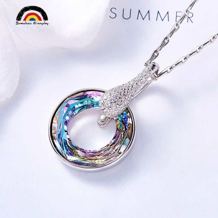 THE WHEEL OF FORTUNE 2019 Fashion High–quality Sterling Silver Necklace Pendant With Chain purpul one size