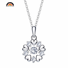 THE PULSATILE HEART 2019 New High–quality Sterling Silver Necklace Cubic Zirconia Pendant With Chain as picture one size