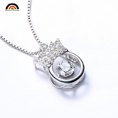 MY HEART LEAPS UP Fashion High–quality Sterling Silver Necklace Pendant With Platinum Plated Chain as picture one size