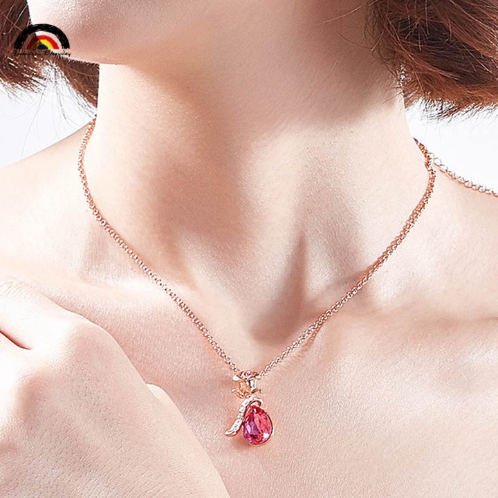 SWEET ROSE Fashion High–quality 4 Colours Cost Effective Necklace Pendant With Platinum Plated Chain red-glod one size
