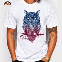 2019 Summer Men's Cotton T-shirt Personality Graffiti Owl Pattern Short Sleeved Round Neck Shirts as picture s 100%cotton