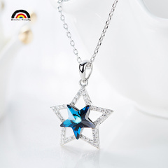 THE SHINING STAR Fashion High–quality Sterling Silver Necklace Pendant With Platinum Plated Chain as picture one size