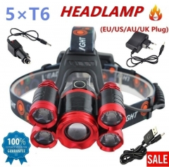 Zoomable T6+XPE LED Head Lamp Zoomable 5leds Headlight Tube Torch LED Flashlight red No accessories and batteries