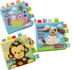 Baby Animal Cloth Book Infant Kid Intelligence Development Toy Bed Cognize Books monkey one size