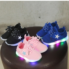 Kids Boys Girls Light Up LED Luminous Trainers Shoes Baby Outdoor Sport Sneakers BLACK 21