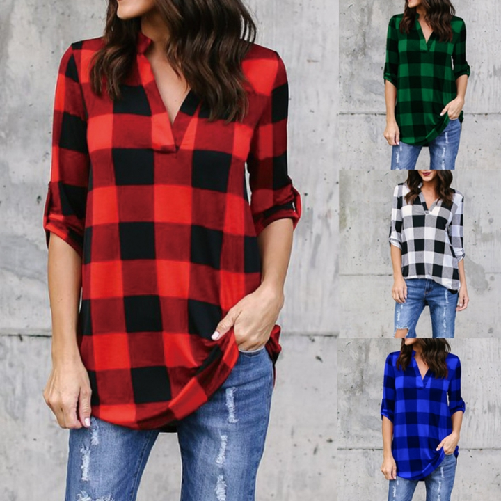 Women Fashion Off Shoulder Loose Red Plaid Long Sleeve Casual Blouse Lattice Tops Women's Clothing