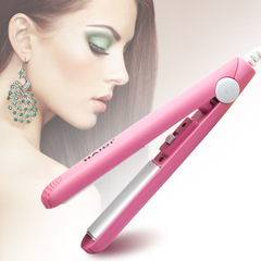 Mini Curls Hair Straightener Pink Ceramic Straightening Corrugated Curling Styling as picture Pink 22cm*6cm*3cm