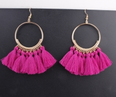 Hot selling in westen ! 2018 Tassel earrings   Long Hanging fringe Earloop light red Length :10cm