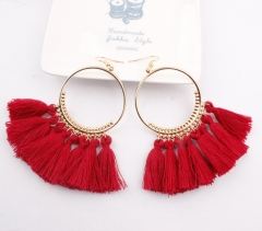 Hot selling in westen ! 2018 Tassel earrings   Long Hanging fringe Earloop red Length :10cm