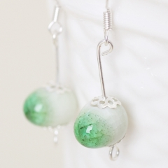 Chinese style earings   The best  china from the capital of porcelain Silverwork  Earbob Green Length : 3.8cm
