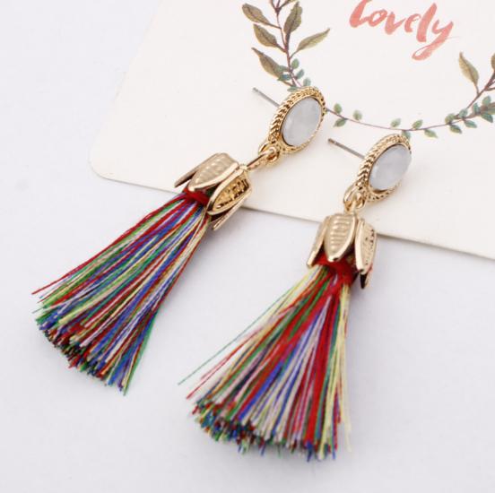 Hot selling in westen ! 2018 Tassel earrings   Long Hanging fringe Earloop 1 Length :10cm