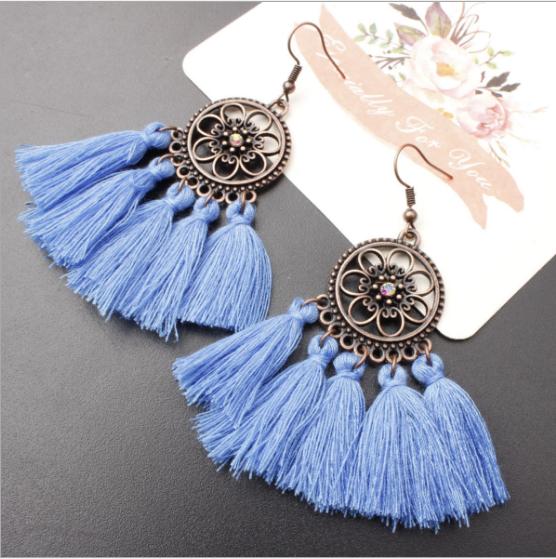Hot selling in westen ! 2018 Tassel earrings   Long Hanging fringe Earloop 8 Length :10cm