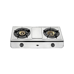 Gas Stove, Table Top, Stainless steel, 2 Burner silver Silver