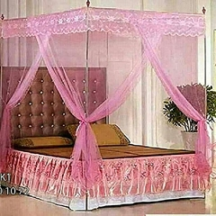 Mosquito net with straight metallic stands . PINK 4*6