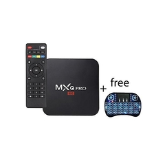 Mxq Pro Smart 4K Android TV Box Plus Free Wireless Back-Lit Mini-Keyboard Black