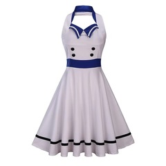 Women's clothing new products splice color pendulum skirt retro no sleeves exposed back dress s white