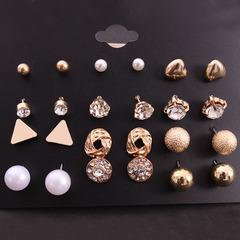 【BNW】 Square zircon earrings _ set earrings 12 pairs of square zircon peach heart diamond10096 silver 16.5g