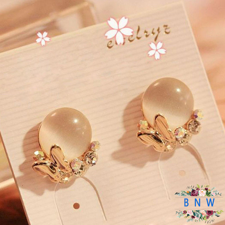 【BNW】Korean version of the jewellry _ diamond temperament butterfly opal earrings10014 gold 5.6g