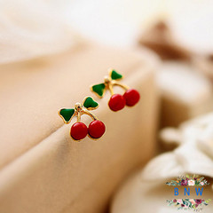 【BNW】 Korean version of the  jewellrey  version of the small red cherry cute sweet feeling10015 red 2.7g
