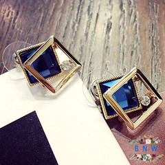 【BNW】 Korean earrings _ square crystal earrings wild fashion temperament long Korean version 10016 Blurred blue 7.5g