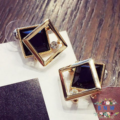 【BNW】 Korean earrings _ square crystal earrings wild fashion temperament long Korean version 10016 Starry black 7.5g
