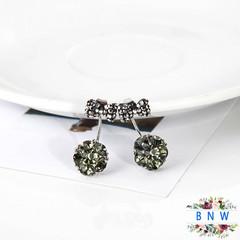 【BNW】 Bow earrings _ bow girl earrings blue synthetic crystal earrings two wear  jewellery10021 green 3.5g