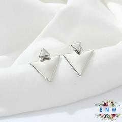【BNW】 Fashion jewellery _ street fashion earrings size geometric triangle10036 silver 4.5g